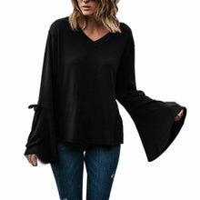 Flare Long Sleeve  Loose Jumper Ladies V-Neck Casual Solid Black Tops