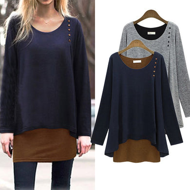 Casual Long Sleeve Cotton Blouses Fashion Ladies O Neck Patchwork Button Loose