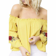 Off Shoulder Blouse Shirt Flare Long Sleeve Floral Embroidery