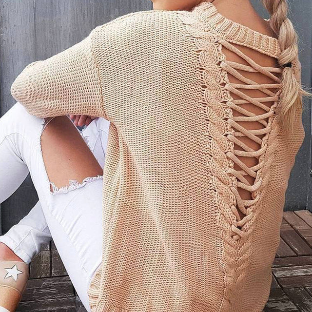 Long Sleeve Knitted  Sweaters  Hollow Out Back Knitting