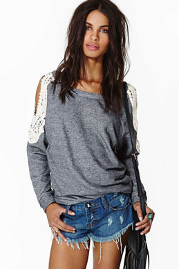Autumn Grey Long Sleeve Cut out Lace Crochet Cold Shoulder Loose Casual