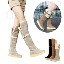 women's Martin thigh Snow boot warm above over knee boots female buckle solid flat boots
