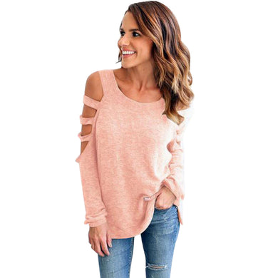 Cold Shoulder Long Sleeve Ladies Loose Top Pullover Cotton Tshirt Round Neck Cut Out T-shirt Autumn