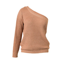Women's Sweaters And Pullovers One Shoulder Neckline Sexy Knitted Sweaters Casual Loose Top