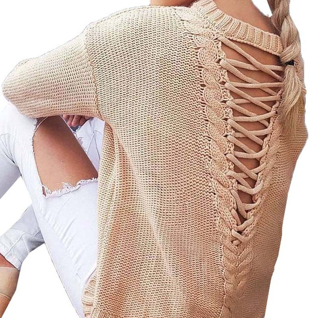 Crew Neck Long Sleeve Backless Crossed Hollow Out Lace Up Casual Knitted Tops Pullover Sweater