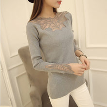 Slim Knitwear Lace Long Sleeve Knitted Sweater Slim Leaf Hollow Out