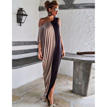 one shoulder Long Maxi Dress hit color short sleeve loose holiday