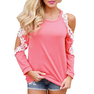 Cold Shoulder BLouse Lace Patchwork Long Sleeve Women Top