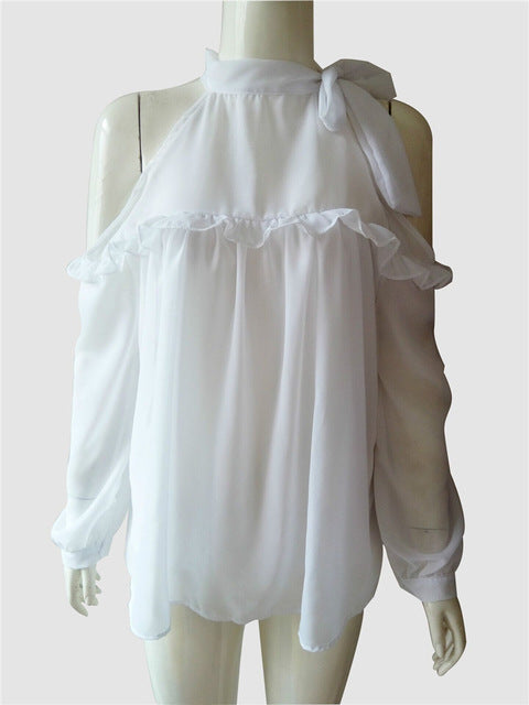Sheer Mesh Tops White Chiffon Shirt Womens Elegant Office Blouse Cold Shoulder