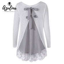 Back Bowknot Lace Panel Long Sleeve Knit Top Women Fashion Cotton Pullover