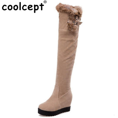 Over Knee Boots Women Thickened Fur Height Increasing Shoes Ladies Buckle Round Toe