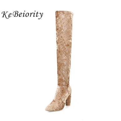 High Heels Boots Over the Knee Velvet Boots Fashion Knee-High Boots