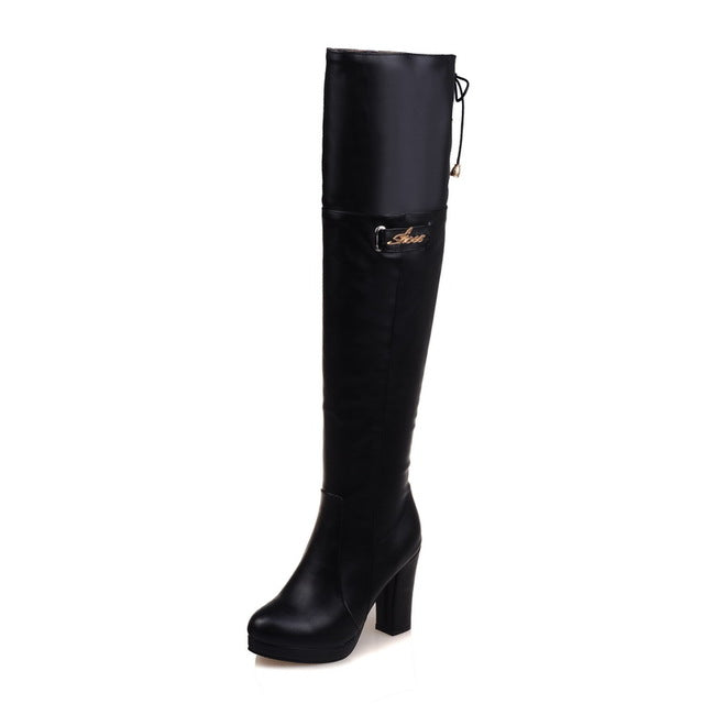 Long Boots Women High Heels Thigh High Boots Lace Up Platform Over the Knee High Boots