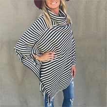Black and White Stripes Turtleneck Sweater Shawl Knit Batwing Tops Poncho Cape Tassel Sweater