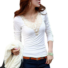 Lace Applique Hollow  Fall t shirt Out V-Neck Long Sleeve Top