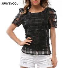 Hallow Out T-Shirt Women Vogue Casual Tops Puff Sleeve Tee