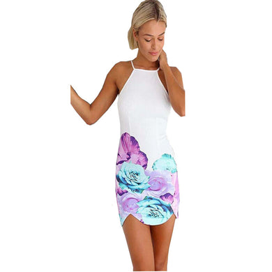 Backless Color Flower  Printing Beach Club Mini