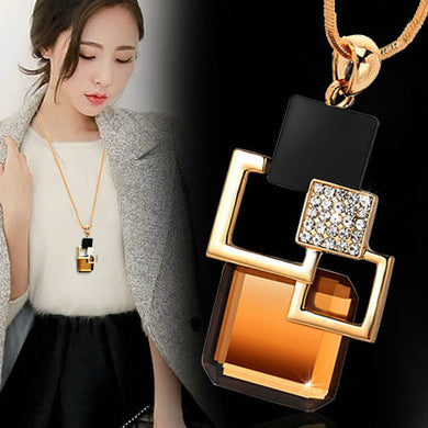 Golden Hollow Geometric Big Crystal Stone Pendant Necklace Fine Jewelry