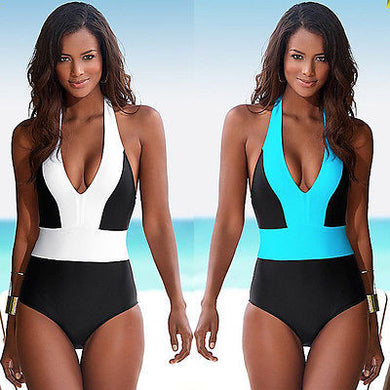 One Piece Swimsuit Bandage For Women Solid White and Blue One shoulder Cut Out