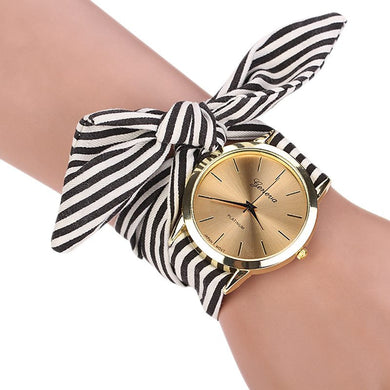 Casual Stripe Fabric  Bracelet Watch 3 Colors Sweet Dress Wristwatch