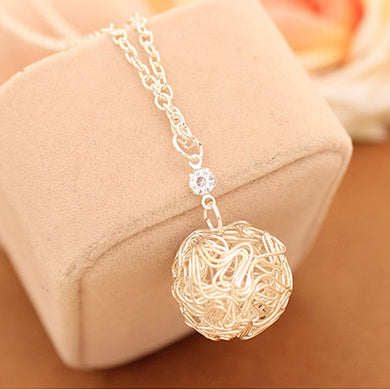 Silver Plated Hollow Ball Pendants Necklace