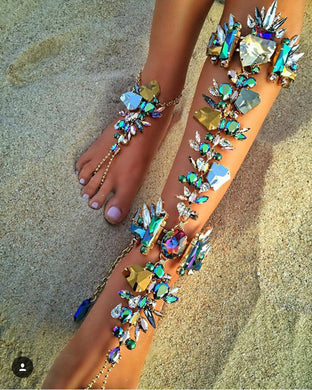 Barefoot Sandals Beach Foot Jewelry Boho Crystal Anklet