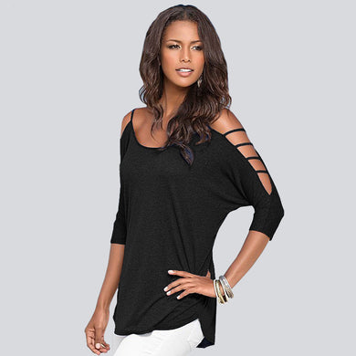 60% Cotton O Neck Long Bandage Sleeve Off The Shoulder T Shirt Women (S- 5XL 6XL) Tops