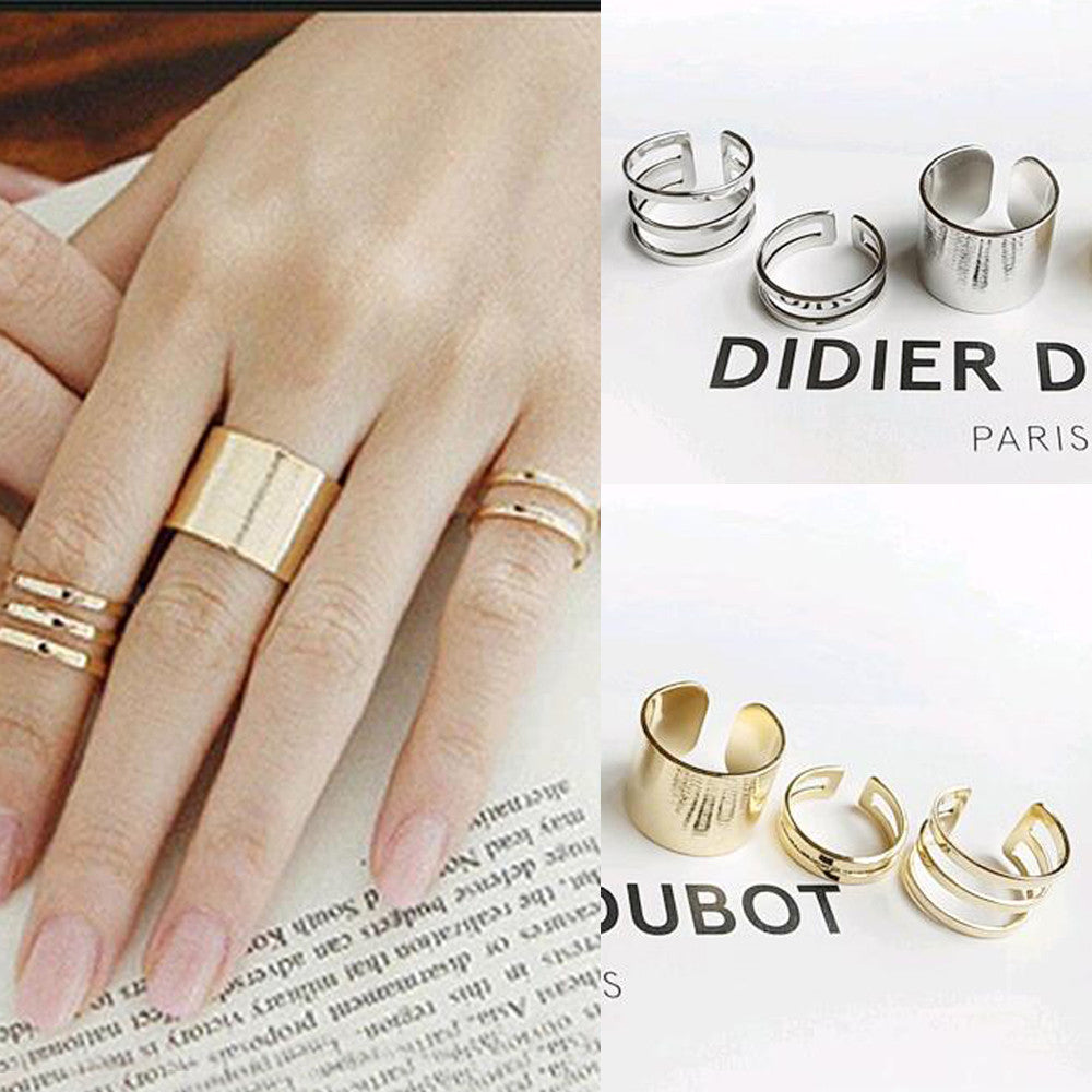 3Pcs. / Set. Fashion Top Of Finger Over The Midi Tip Finger Above The Knuckle Open Ring