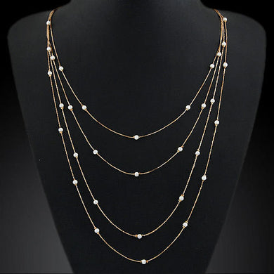 Simulated Pearl Necklace Beads Long Strip Pendant Necklace