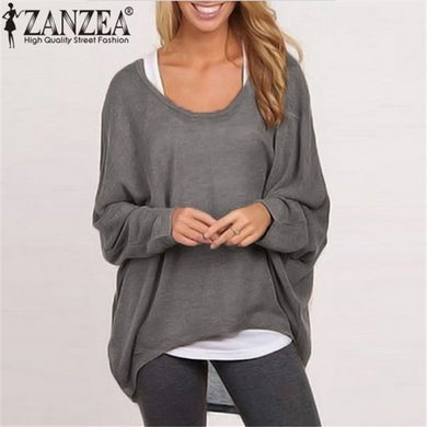 Women Blouse Casual Loose Batwing Long Sleeve Shirt Sweater Jumper Pullovers Plus Size