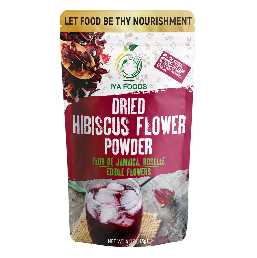 Hibiscus Flower Powder 4 oz Pack, Gluten Free, Kosher Certified - iyafoods