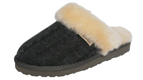 SLPR Women's Sheepskin Fernie Slipper with Grey Knit Upper