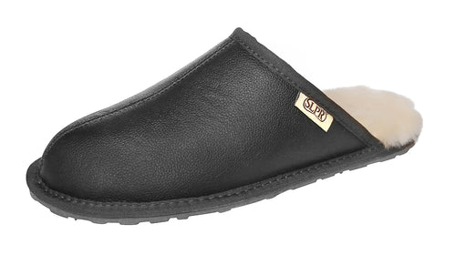SLPR Men's Sheepskin Summit Slipper with Leather with Carbon Grey Upper
