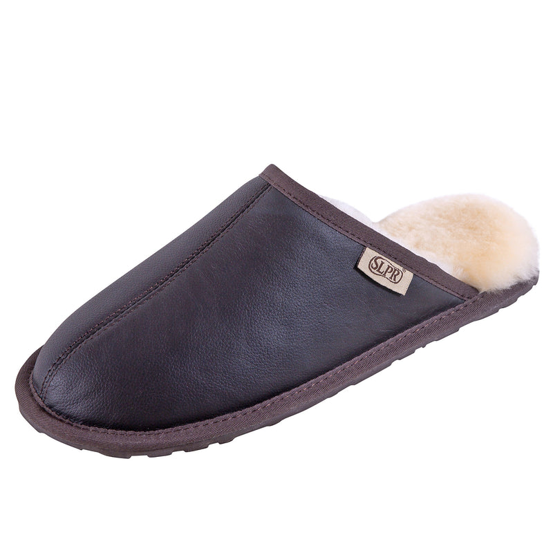 SLPR Men's Sheepskin Summit Slipper with Leather with Dark Brown Upper