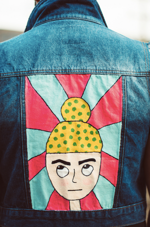 ORIGINAL HAND-PAINTED BILLU POP ART JEAN VEST