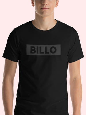 GREY BILLO ON BLACK TEE - CREW NECK