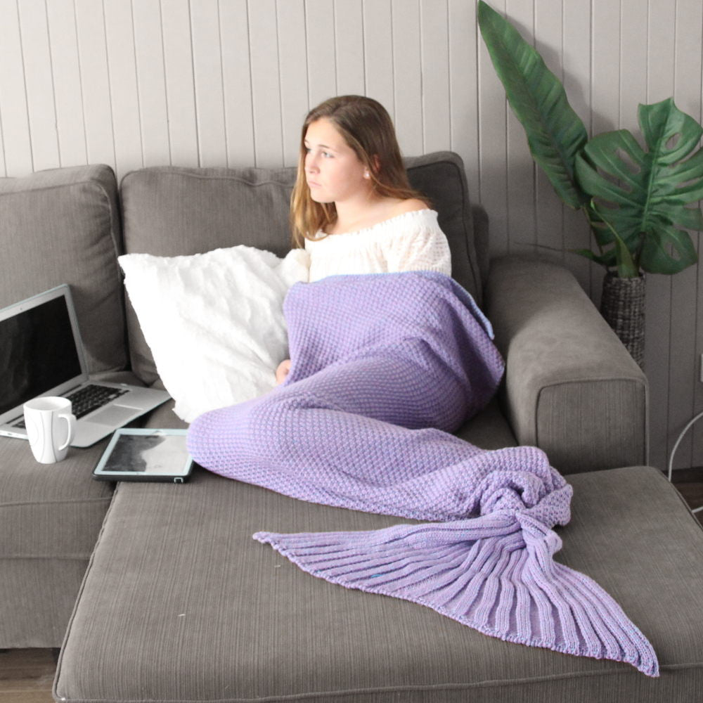 Adult Mermaid Tail Blanket in Lavender Purple