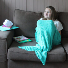 Kids Mermaid Tail Blanket in Seafoam Green