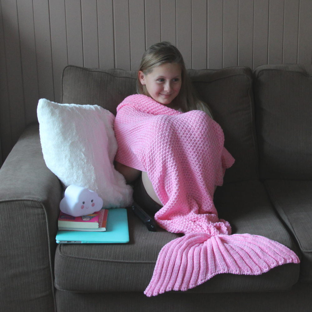 Kids Mermaid Tail Blanket in Flamingo Pink