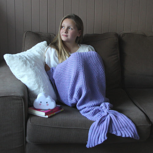 Kids Mermaid Tail Blanket in Lavender Purple