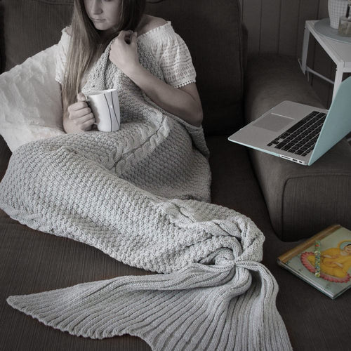 Adult Luxe Mermaid Tail Blanket in Ash Grey