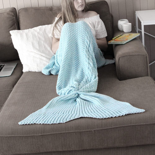 Adult Luxe Mermaid Tail Blanket in Duck Egg Blue
