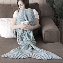 Adult Luxe Mermaid Tail Blanket in Grey/Blue Marle