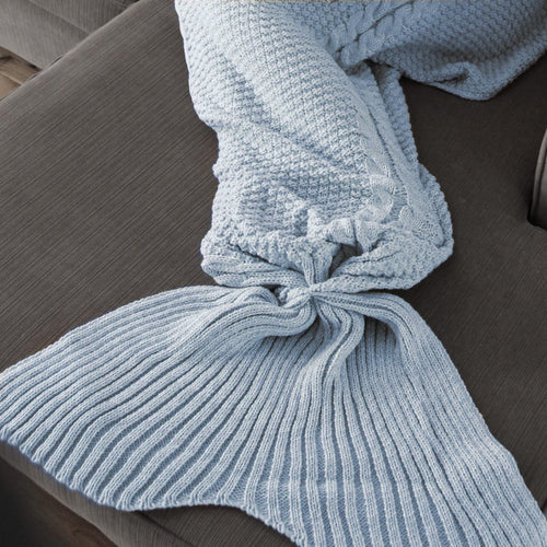 Kids Mermaid Tail Blanket in Powder Blue