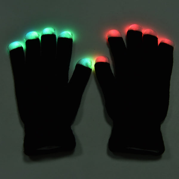 Newest LED Rave Flashing Gloves Glow 7 Mode Light Up