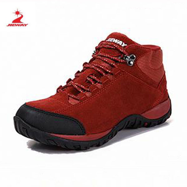 JIEWAY women winter outdoor shoes hiking camping trip high-top hiking boots cow leather durable female plush warm outdoor boots