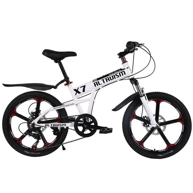 ALTRUISM X7 20 Inch 7 Speed Children Mountain Bike One-piece Wheel Aluminum MTB Double Disc Brakes Kids Bicycle