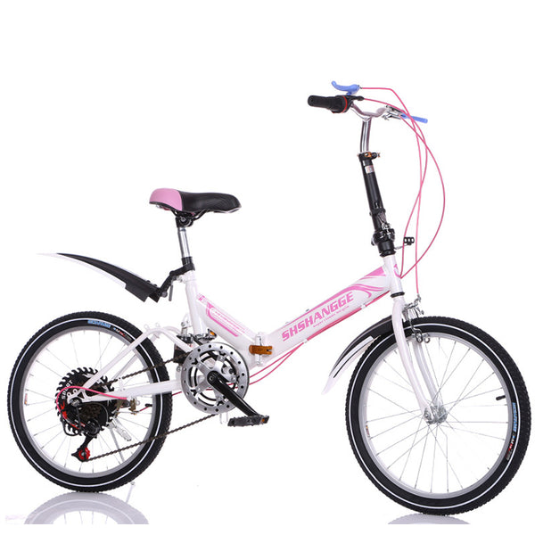 Boys and girls folding bike 20-inch damping variable speed bicycle High carbon steel bike Shock absorption bicycle Student bike