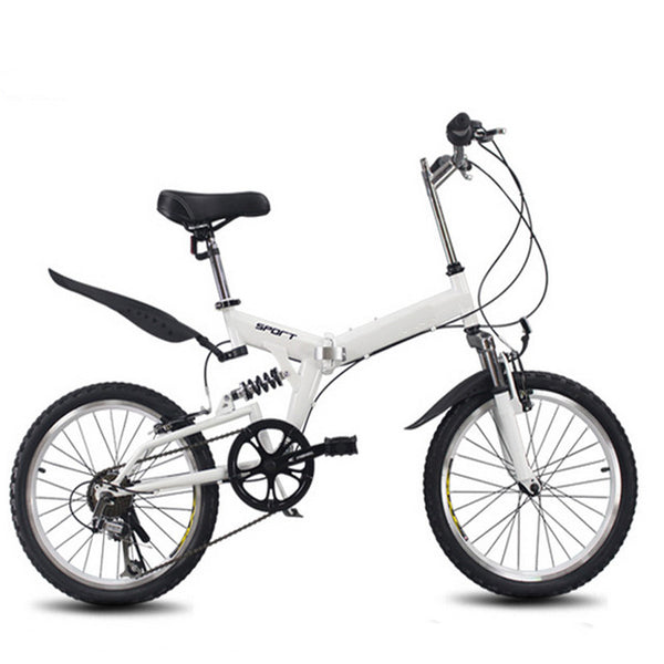 6 variable speed folding bike 20 inch road bike male and female cycling High carbon steel folding bicycle variable speed bike
