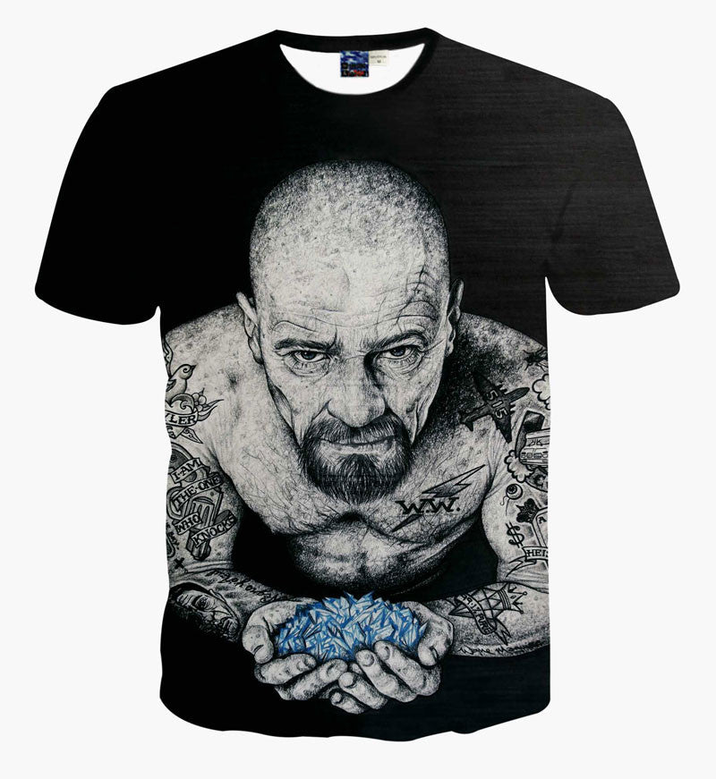 Breaking Bad Black With Whole Body Tattoo Walter Printed T-shirt